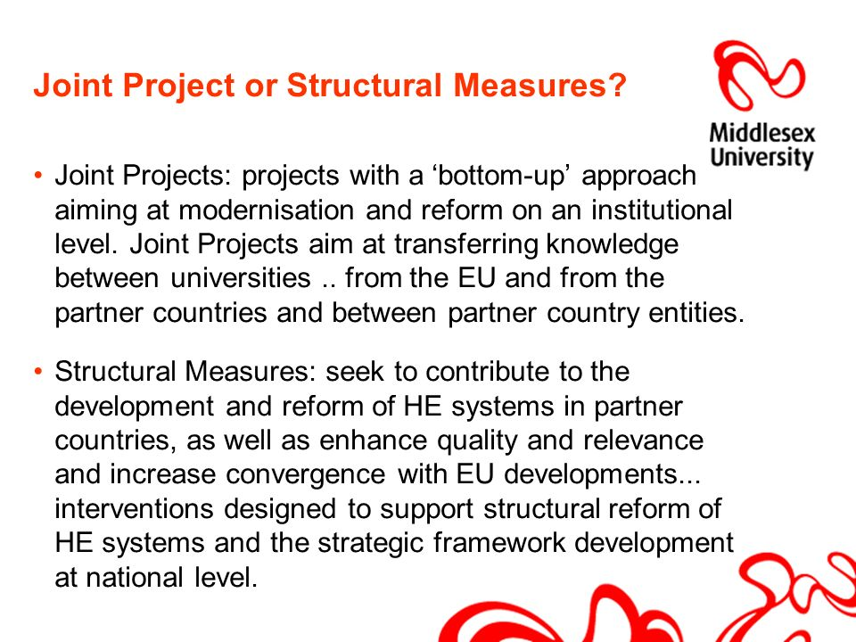 Joint Project or Structural Measures.