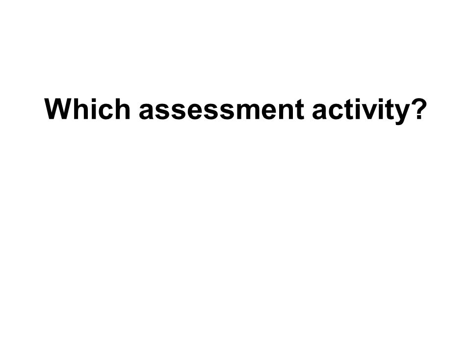 Which assessment activity?