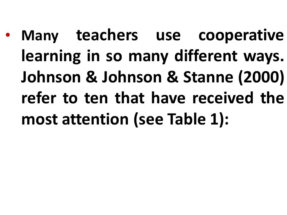 Many teachers use cooperative learning in so many different ways.