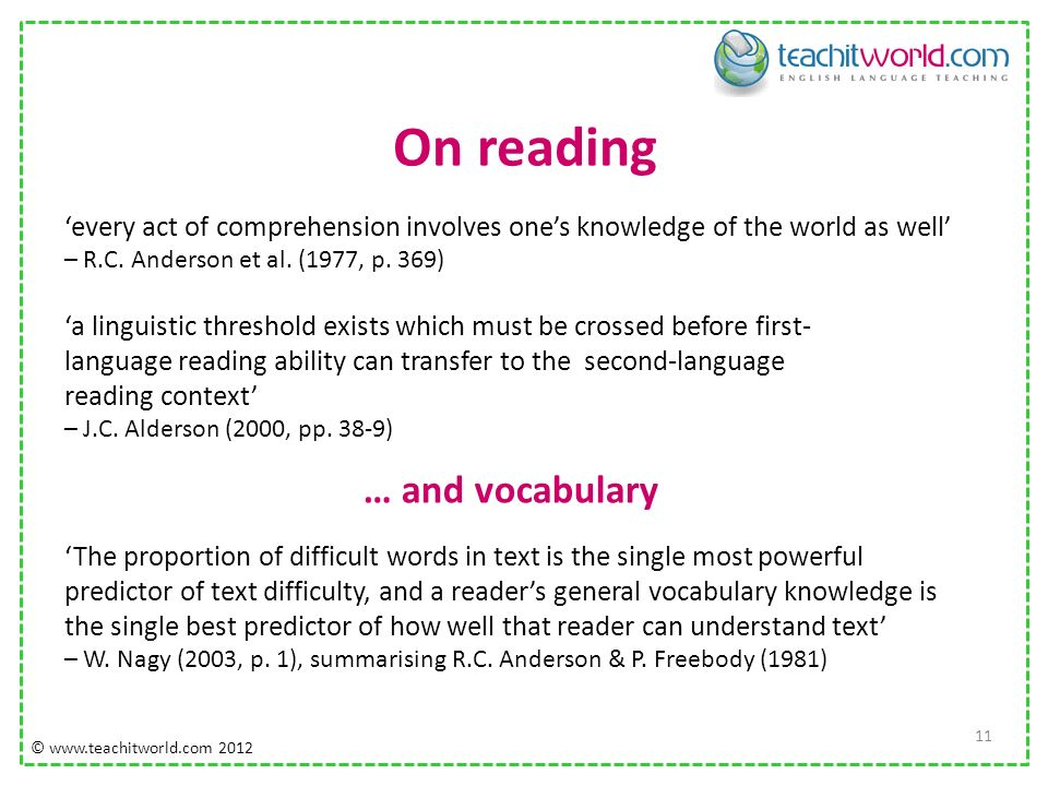 On reading 11 every act of comprehension involves ones knowledge of the world as well – R.C.