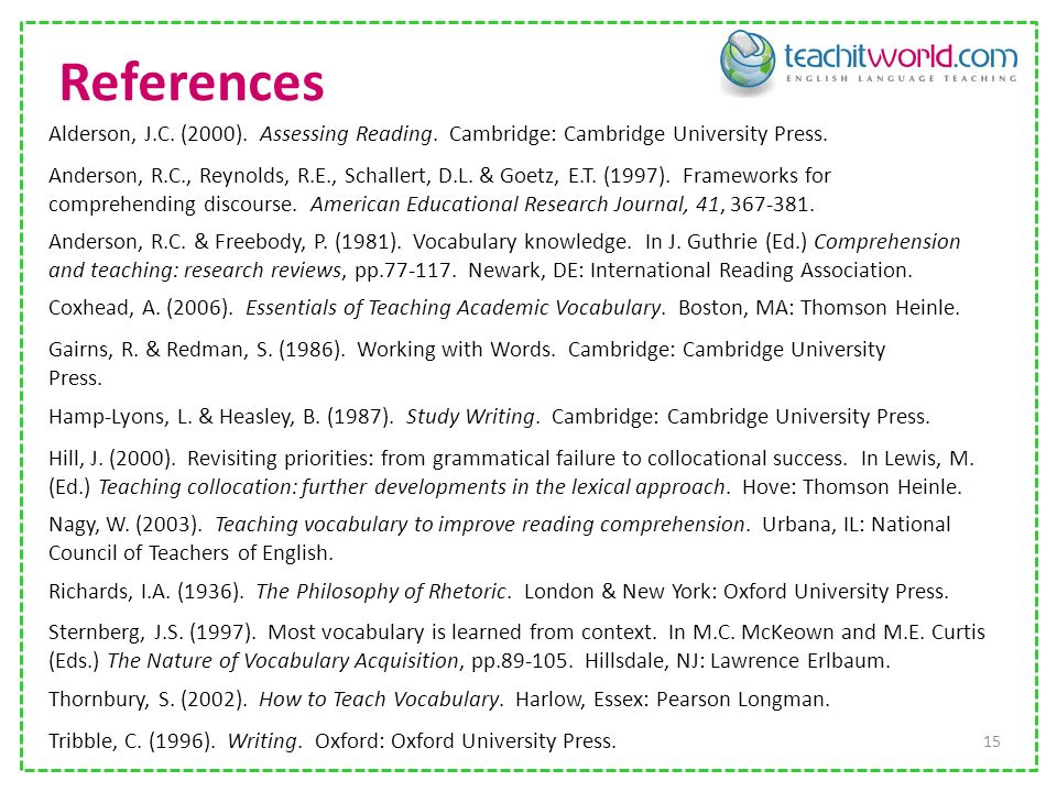 References 15 Tribble, C.(1996). Writing. Oxford: Oxford University Press.