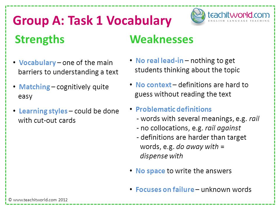 Group A: Task 1 Vocabulary Strengths Vocabulary – one of the main barriers to understanding a text Matching – cognitively quite easy Learning styles – could be done with cut-out cards Weaknesses No real lead-in – nothing to get students thinking about the topic No context – definitions are hard to guess without reading the text Problematic definitions - words with several meanings, e.g.