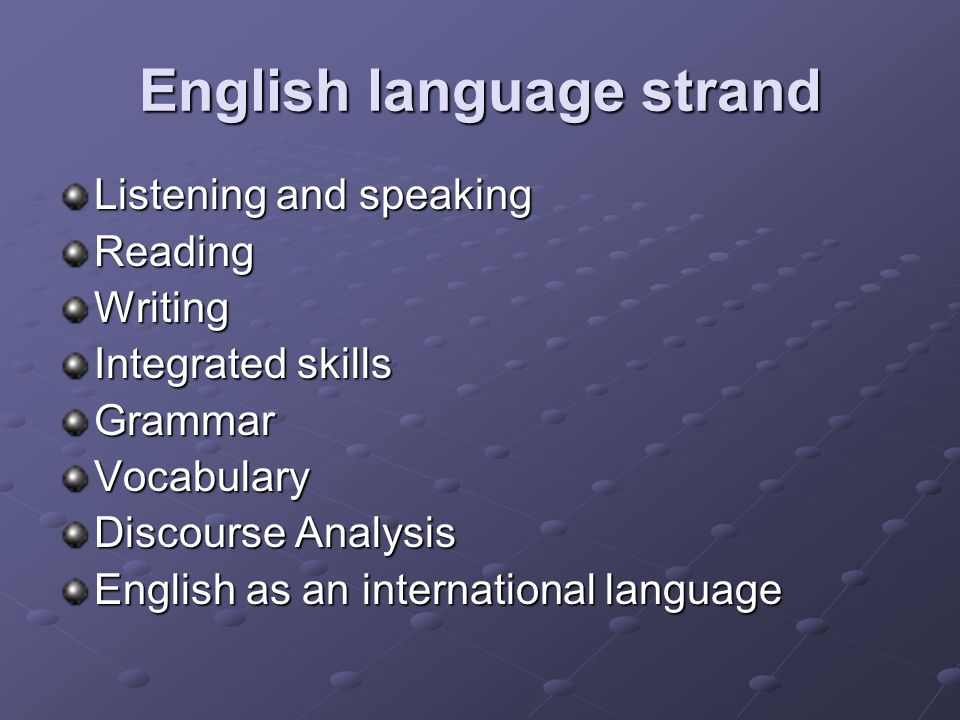 English language strand Listening and speaking ReadingWriting Integrated skills GrammarVocabulary Discourse Analysis English as an international language