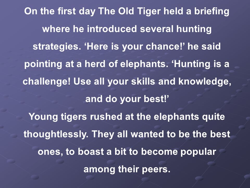 On the first day The Old Tiger held a briefing where he introduced several hunting strategies.