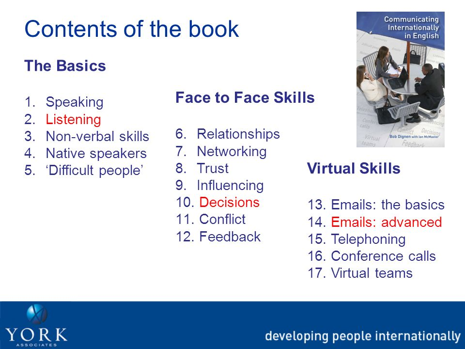 Contents of the book The Basics 1. Speaking 2. Listening 3. Non-verbal skills 4. Native speakers 5. Difficult people Face to Face Skills 6. Relationsh