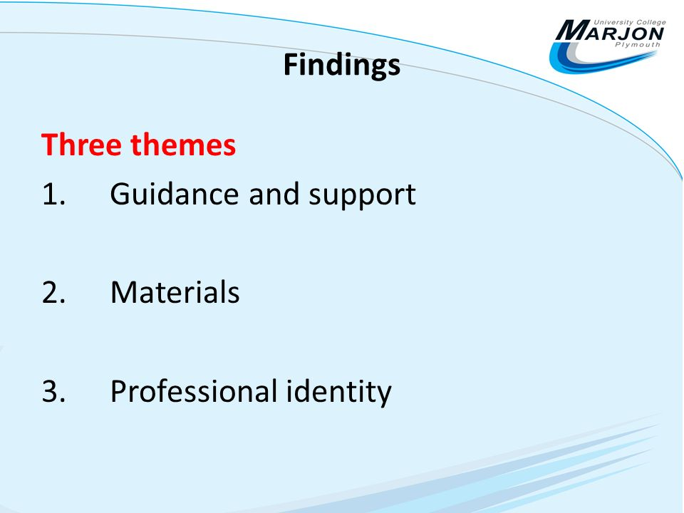 Findings Three themes 1. Guidance and support 2. Materials 3. Professional identity