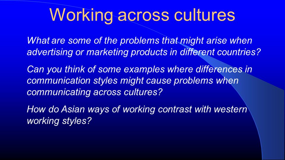 Working across cultures What are some of the problems that might arise when advertising or marketing products in different countries.