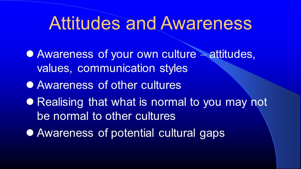 Attitudes and Awareness Awareness of your own culture – attitudes, values, communication styles Awareness of other cultures Realising that what is normal to you may not be normal to other cultures Awareness of potential cultural gaps