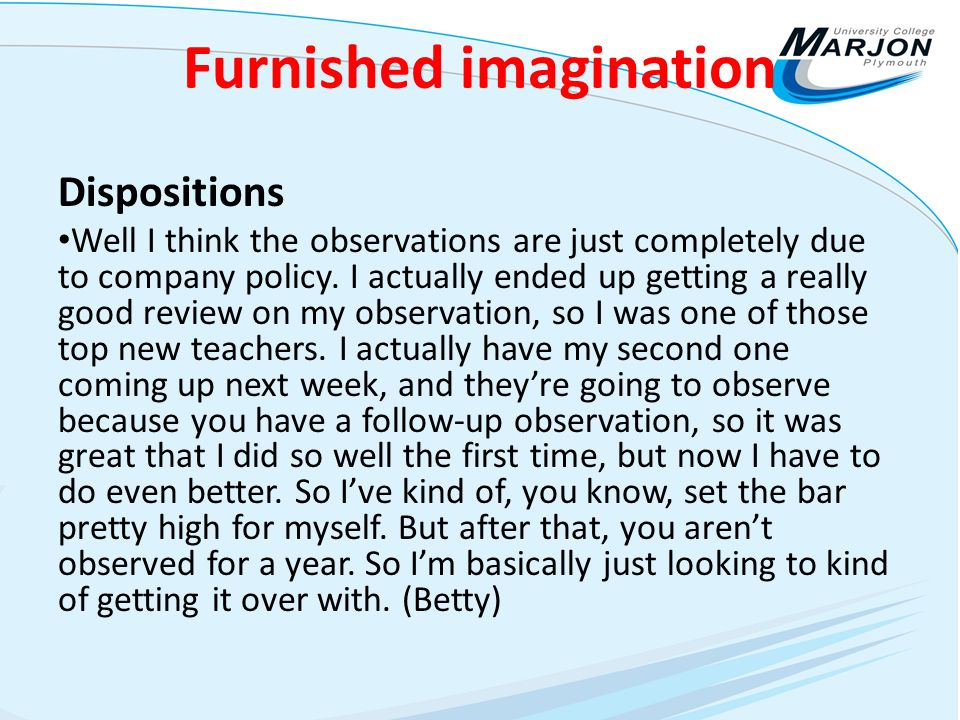 Furnished imagination Dispositions Well I think the observations are just completely due to company policy.