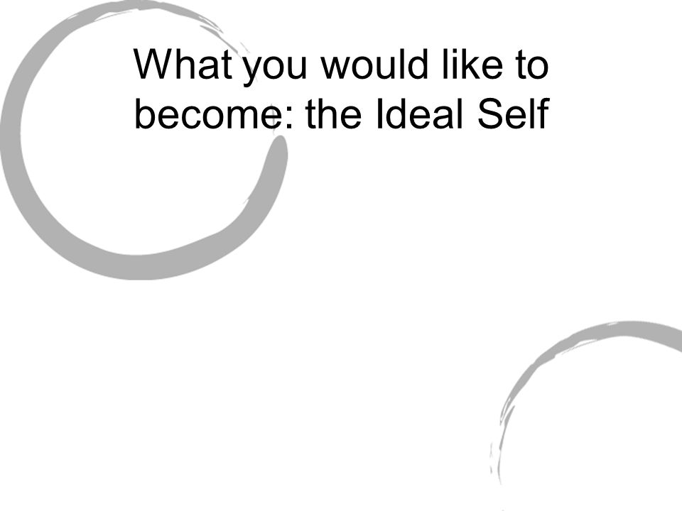What you would like to become: the Ideal Self