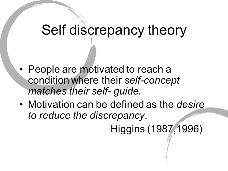 Self discrepancy theory People are motivated to reach a condition where their self-concept matches their self- guide. Motivation can be defined as the