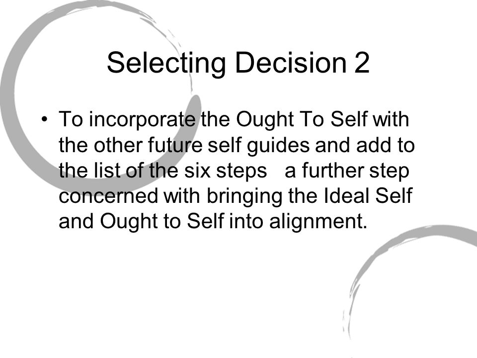 Selecting Decision 2 To incorporate the Ought To Self with the other future self guides and add to the list of the six steps a further step concerned
