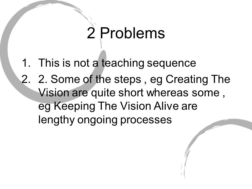 2 Problems 1.This is not a teaching sequence 2.2. Some of the steps, eg Creating The Vision are quite short whereas some, eg Keeping The Vision Alive
