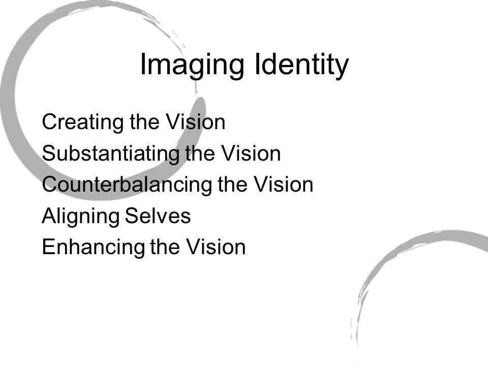 Imaging Identity Creating the Vision Substantiating the Vision Counterbalancing the Vision Aligning Selves Enhancing the Vision