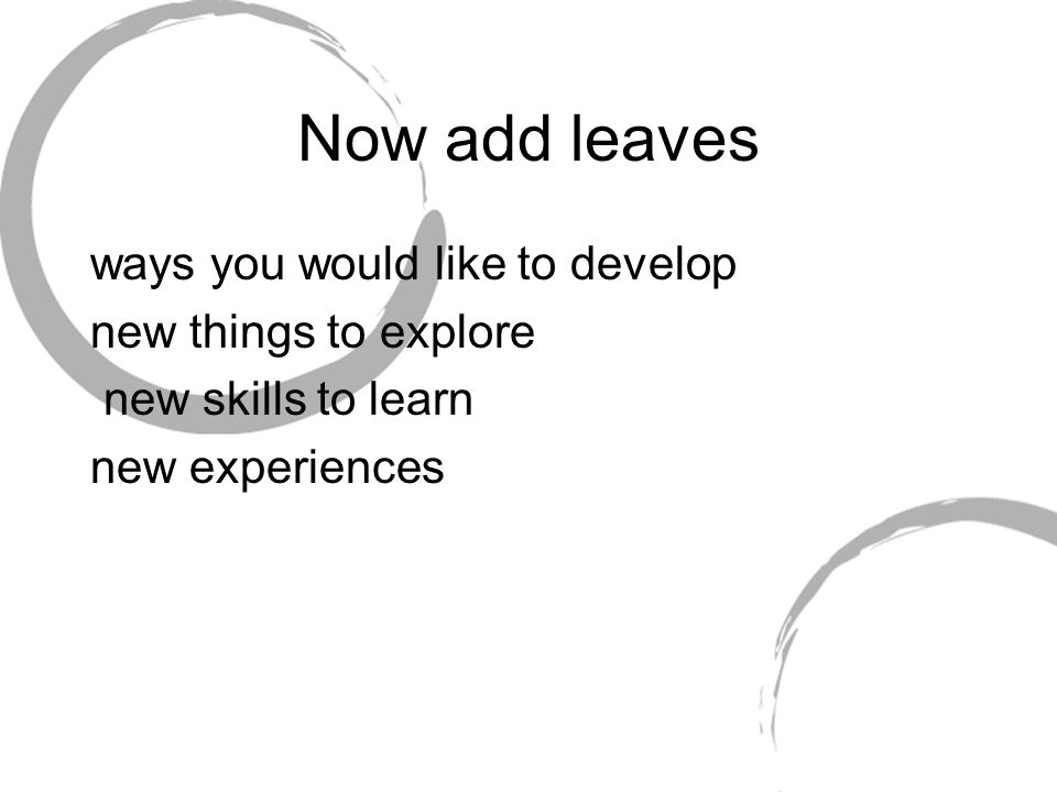 Now add leaves ways you would like to develop new things to explore new skills to learn new experiences