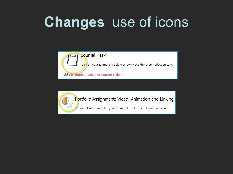 Changes use of icons