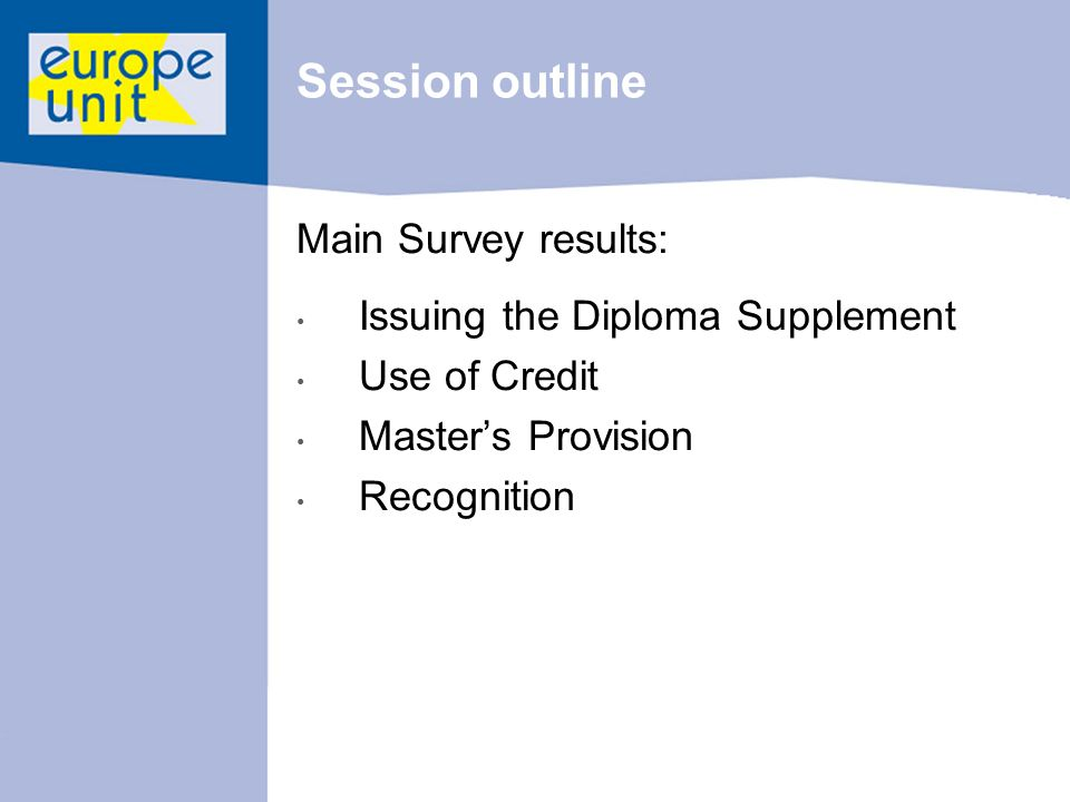 Session outline Main Survey results: Issuing the Diploma Supplement Use of Credit Masters Provision Recognition