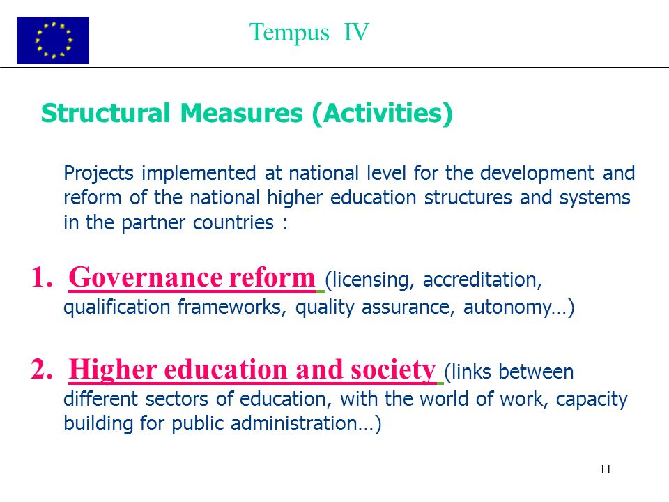 11 Structural Measures (Activities) Projects implemented at national level for the development and reform of the national higher education structures
