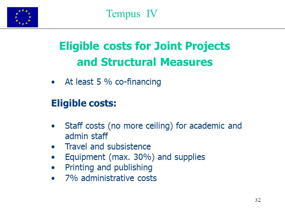 32 Eligible costs for Joint Projects and Structural Measures At least 5 % co-financing Eligible costs: Staff costs (no more ceiling) for academic and