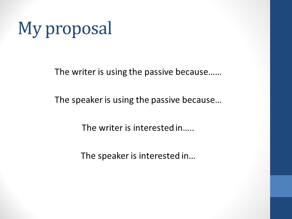 My proposal The writer is using the passive because…… The speaker is using the passive because… The writer is interested in…..