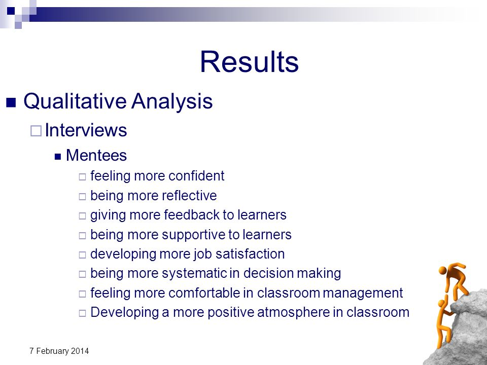 7 February 2014 Results Qualitative Analysis Interviews Mentees feeling more confident being more reflective giving more feedback to learners being mo
