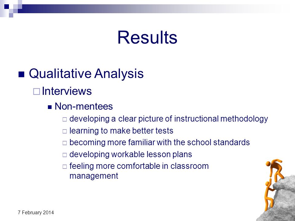 7 February 2014 Results Qualitative Analysis Interviews Non-mentees developing a clear picture of instructional methodology learning to make better te