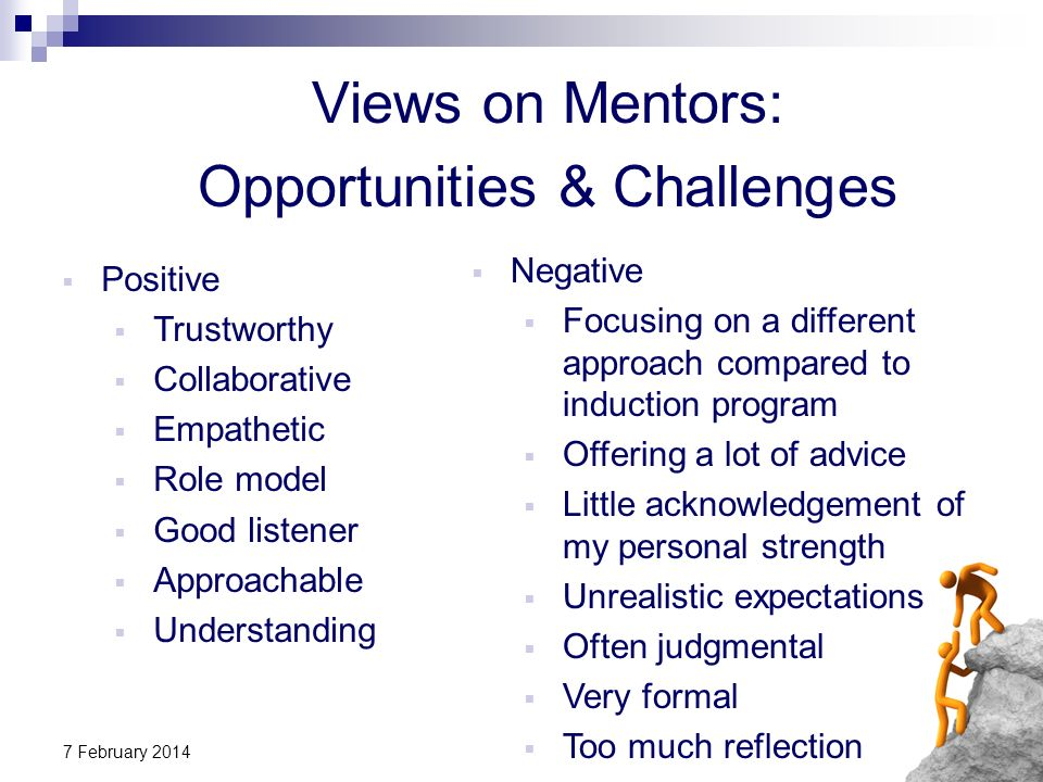 7 February 2014 Views on Mentors: Opportunities & Challenges Negative Focusing on a different approach compared to induction program Offering a lot of