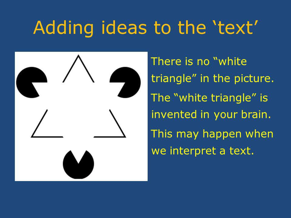 Adding ideas to the text There is no white triangle in the picture.