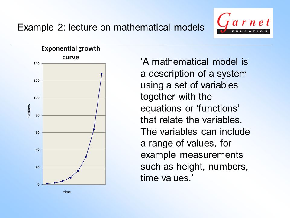 Example 2: lecture on mathematical models A mathematical model is a description of a system using a set of variables together with the equations or functions that relate the variables.