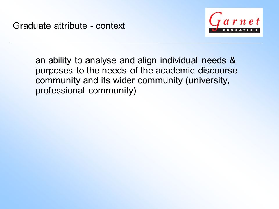Graduate attribute - context an ability to analyse and align individual needs & purposes to the needs of the academic discourse community and its wide