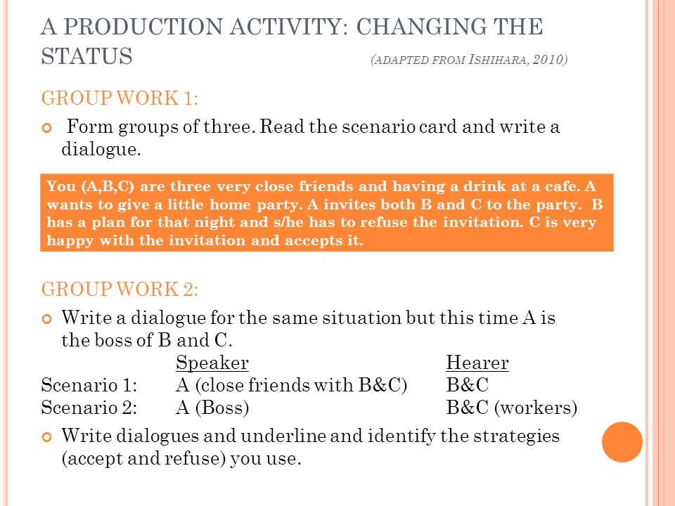 A PRODUCTION ACTIVITY: CHANGING THE STATUS ( ADAPTED FROM I SHIHARA, 2010) GROUP WORK 1: Form groups of three. Read the scenario card and write a dial