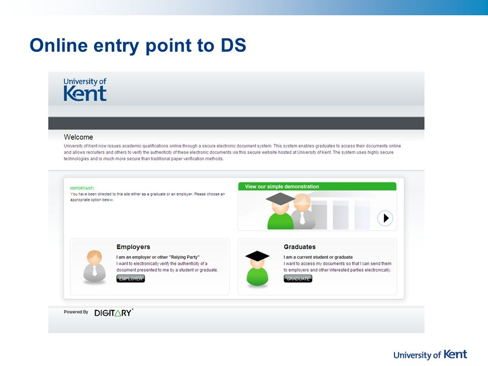 Online entry point to DS