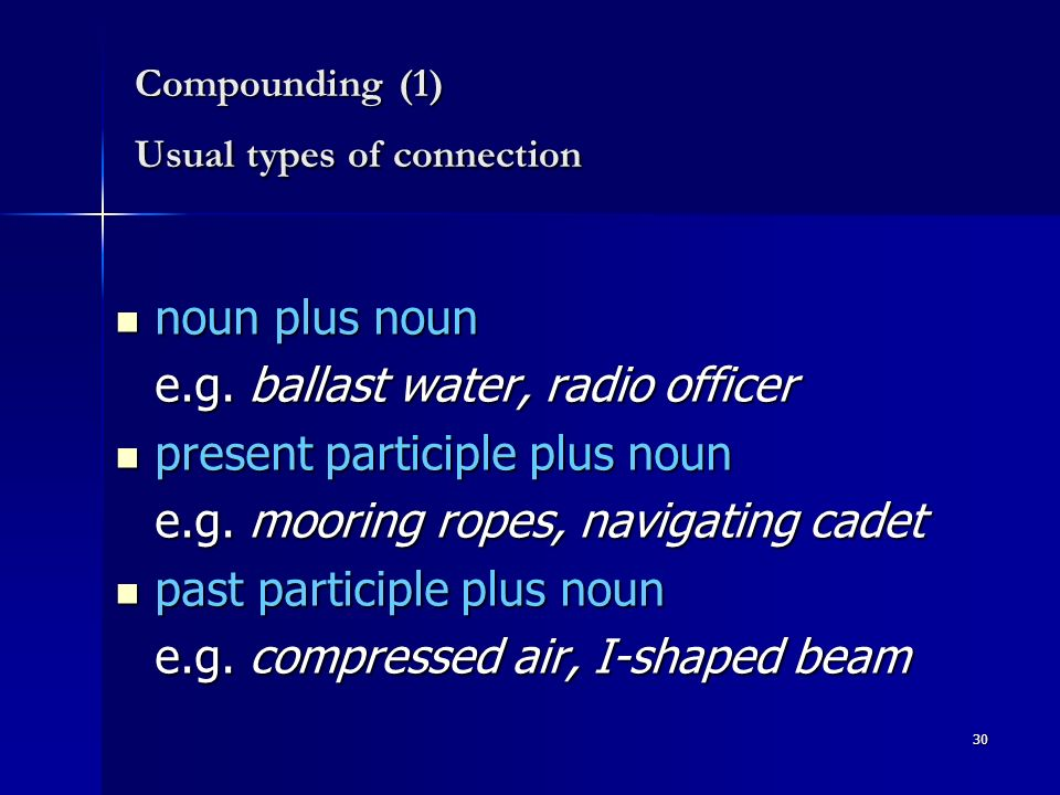 30 Compounding (1) Usual types of connection noun plus noun noun plus noun e.g.
