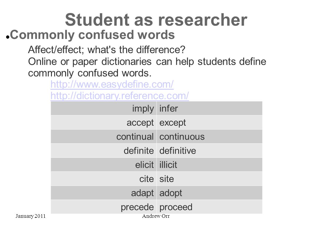 January 2011Andrew Orr Student as researcher Commonly confused words Affect/effect; what's the difference? Online or paper dictionaries can help stude