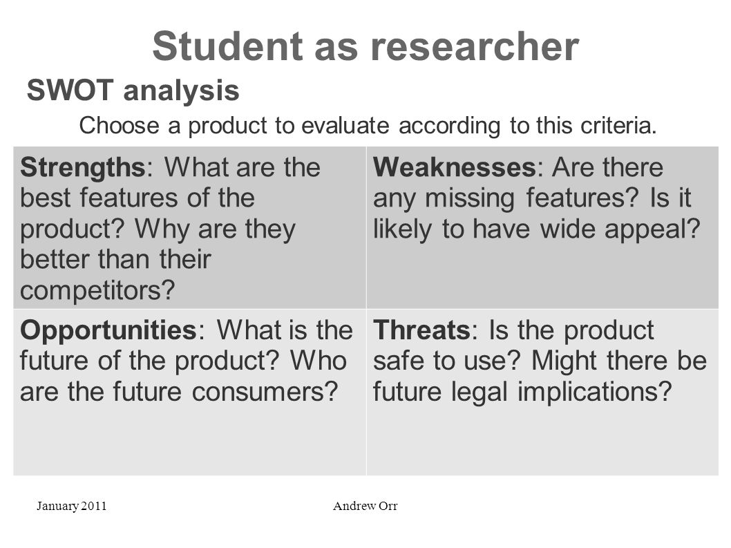 January 2011Andrew Orr Student as researcher Strengths: What are the best features of the product? Why are they better than their competitors? Weaknes
