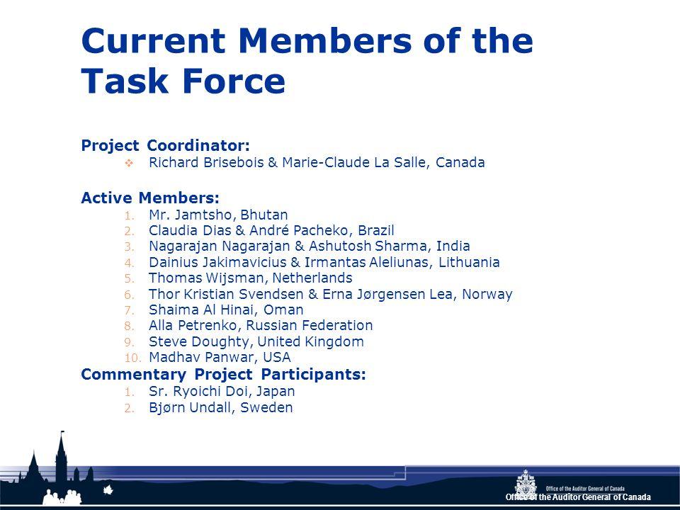 Current Members of the Task Force Project Coordinator: Richard Brisebois & Marie-Claude La Salle, Canada Active Members: 1.