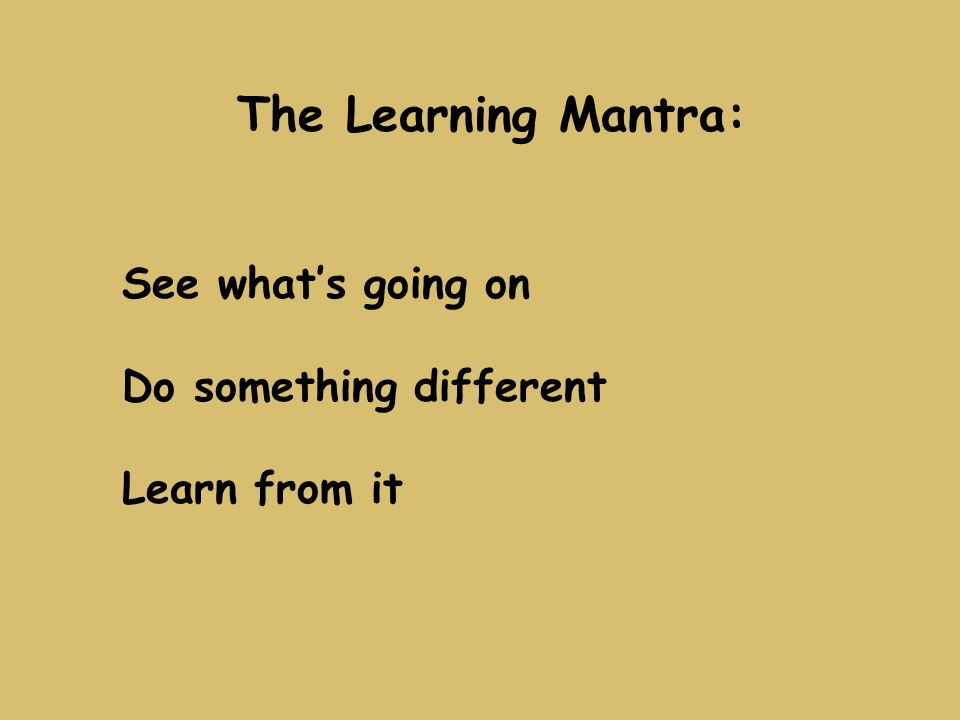 The Learning Mantra: See whats going on Do something different Learn from it