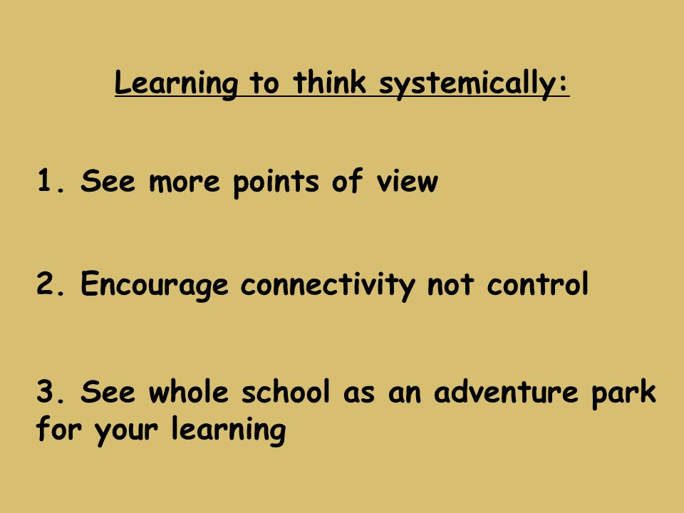Learning to think systemically: 1. See more points of view 2. Encourage connectivity not control 3. See whole school as an adventure park for your lea