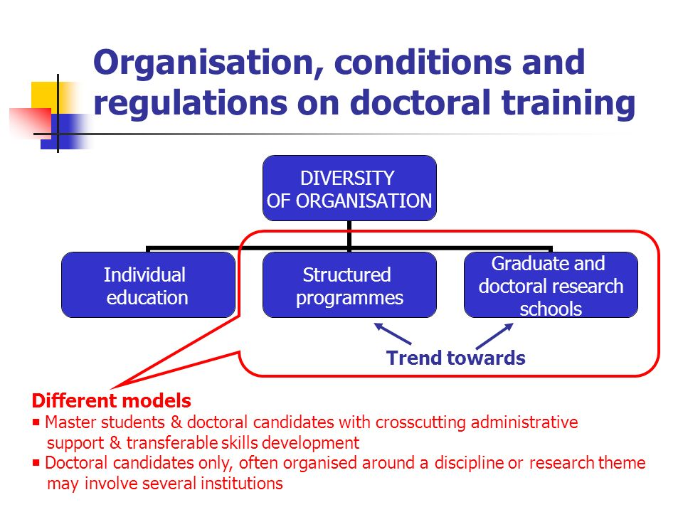 Organisation, conditions and regulations on doctoral training DIVERSITY OF ORGANISATION Individual education Structured programmes Graduate and doctor