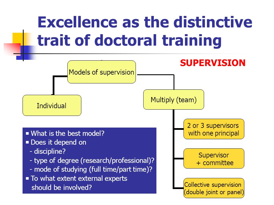 Excellence as the distinctive trait of doctoral training Models of supervision Individual Multiply (team) 2 or 3 supervisors with one principal Superv