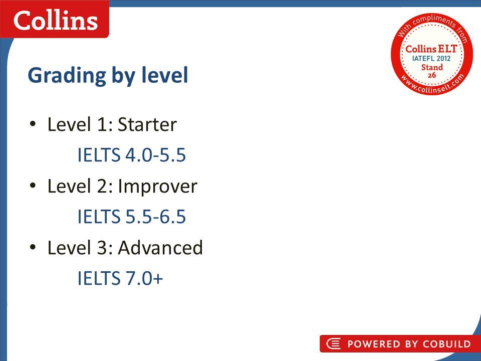 Collins Business Skills Grading by level Level 1: Starter IELTS 4.0-5.5 Level 2: Improver IELTS 5.5-6.5 Level 3: Advanced IELTS 7.0+
