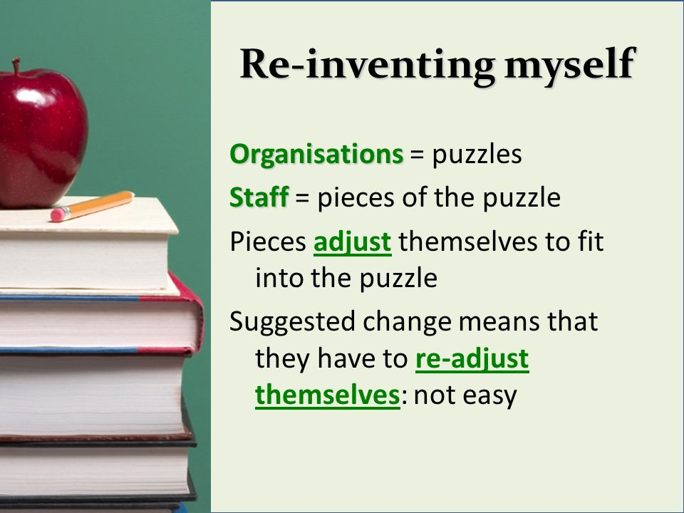 Re-inventing myself Organisations Organisations = puzzles Staff Staff = pieces of the puzzle Pieces adjust themselves to fit into the puzzle Suggested