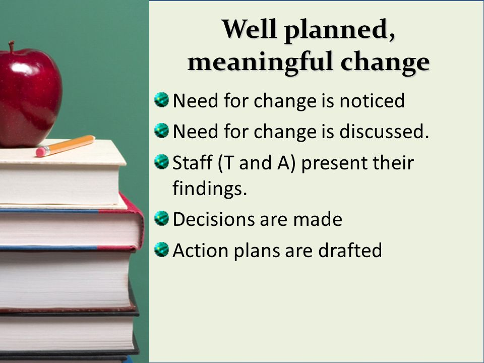 Well planned, meaningful change Need for change is noticed Need for change is discussed. Staff (T and A) present their findings. Decisions are made Ac