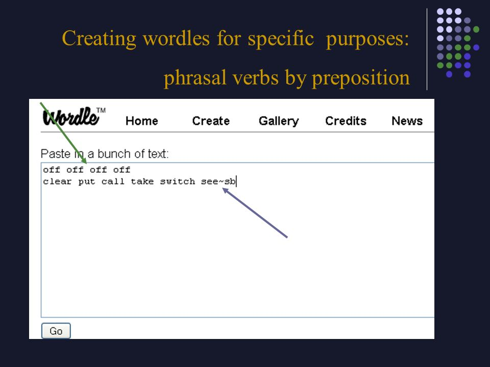 Creating wordles for specific purposes: phrasal verbs by preposition