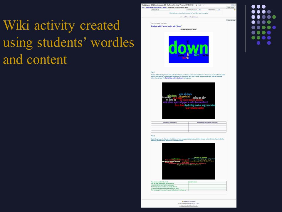 Wiki activity created using students wordles and content