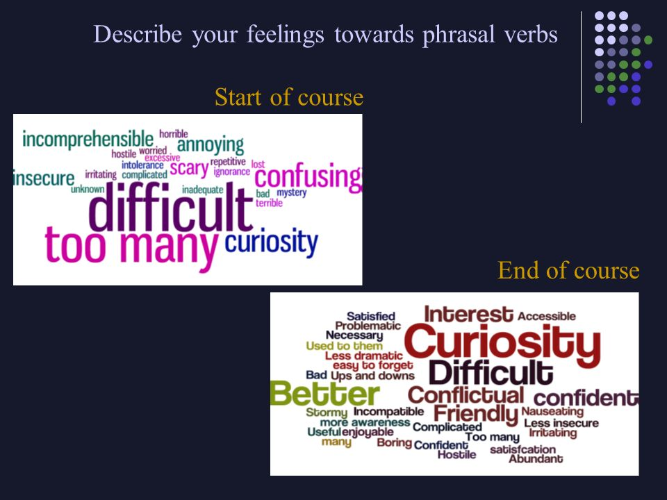 Describe your feelings towards phrasal verbs Start of course End of course