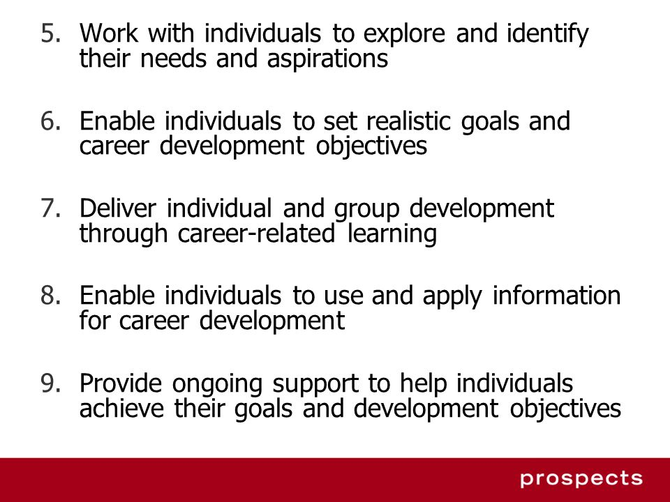 5.Work with individuals to explore and identify their needs and aspirations 6.Enable individuals to set realistic goals and career development objecti