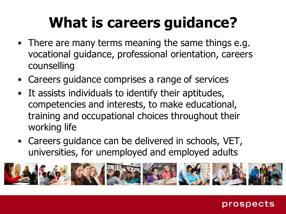 What is careers guidance? There are many terms meaning the same things e.g. vocational guidance, professional orientation, careers counselling Careers