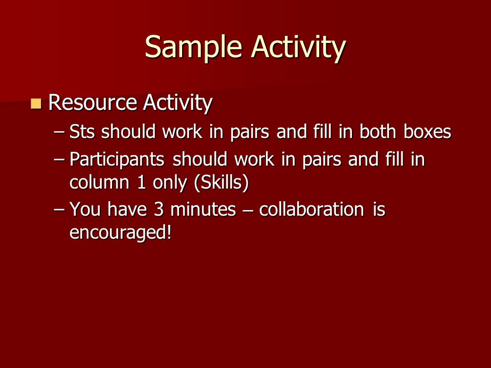 Sample Activity Resource Activity Resource Activity –Sts should work in pairs and fill in both boxes –Participants should work in pairs and fill in column 1 only (Skills) –You have 3 minutes – collaboration is encouraged!