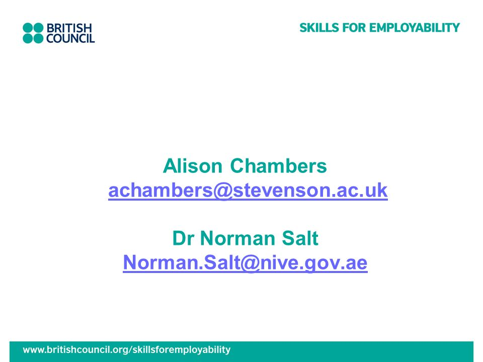 Alison Chambers achambers@stevenson.ac.uk Dr Norman Salt Norman.Salt@nive.gov.aeachambers@stevenson.ac.uk Norman.Salt@nive.gov.ae